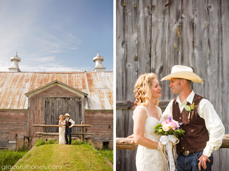 Bride and groom at Pine Brook Farm
