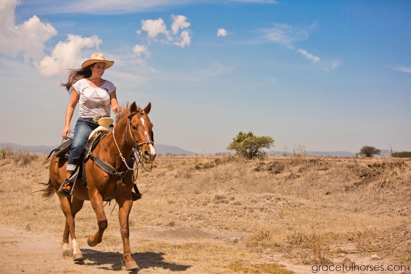 Girl and horse galloping