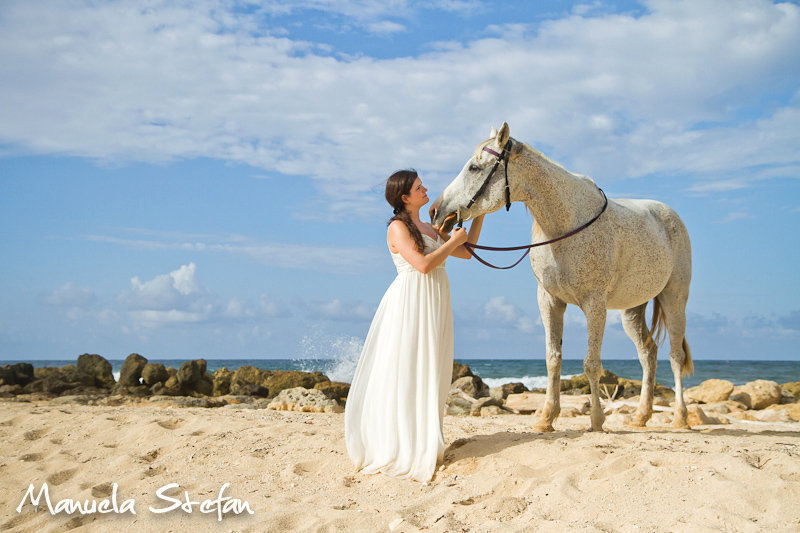 Bride and horse on the beach