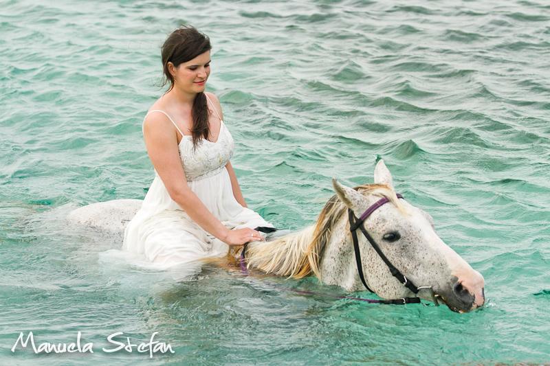 Bride riding horse in Jamaica