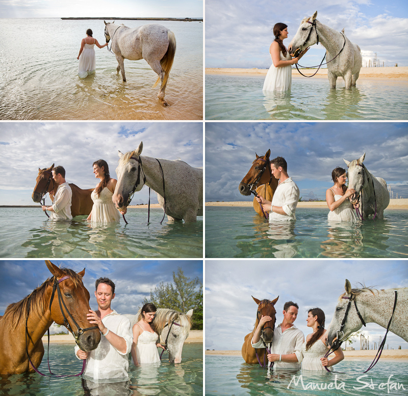 Couple with horses in the ocean
