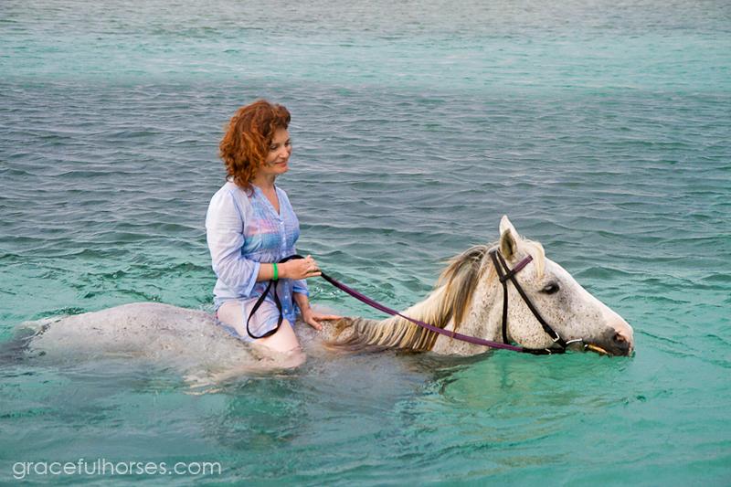 Horseback riding in the ocean