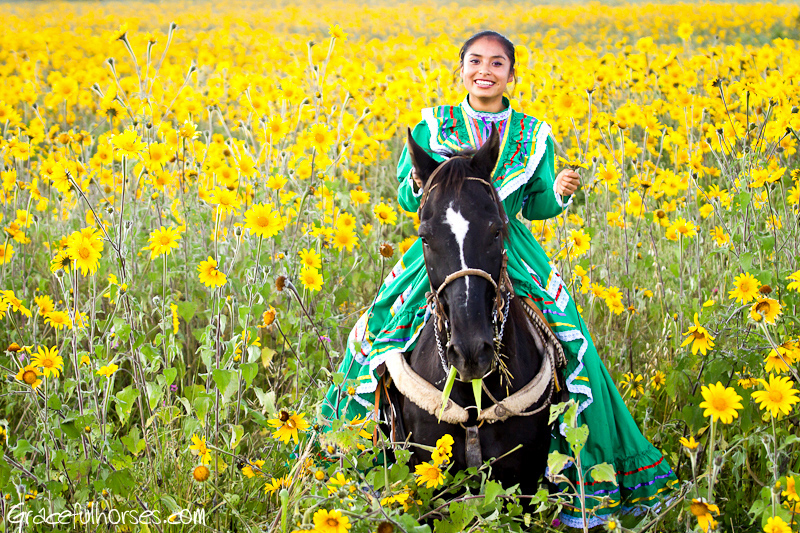 Riding in the sunflower field Mexico