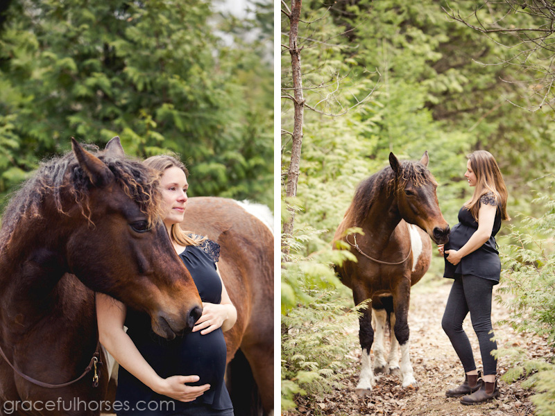 Pregnant girl and horse