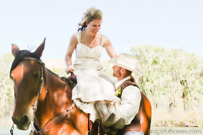 Bride and groom at Lazy L&B Ranch
