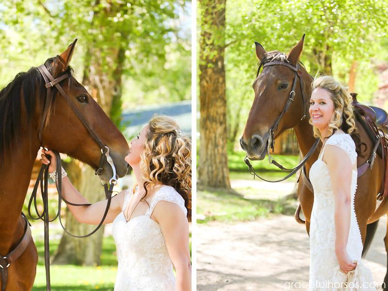 Bride and ranch horse portraits