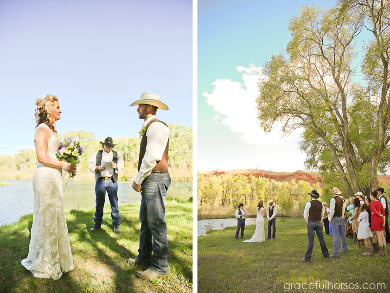 Wedding ceremony at the Lazy L&B Ranch