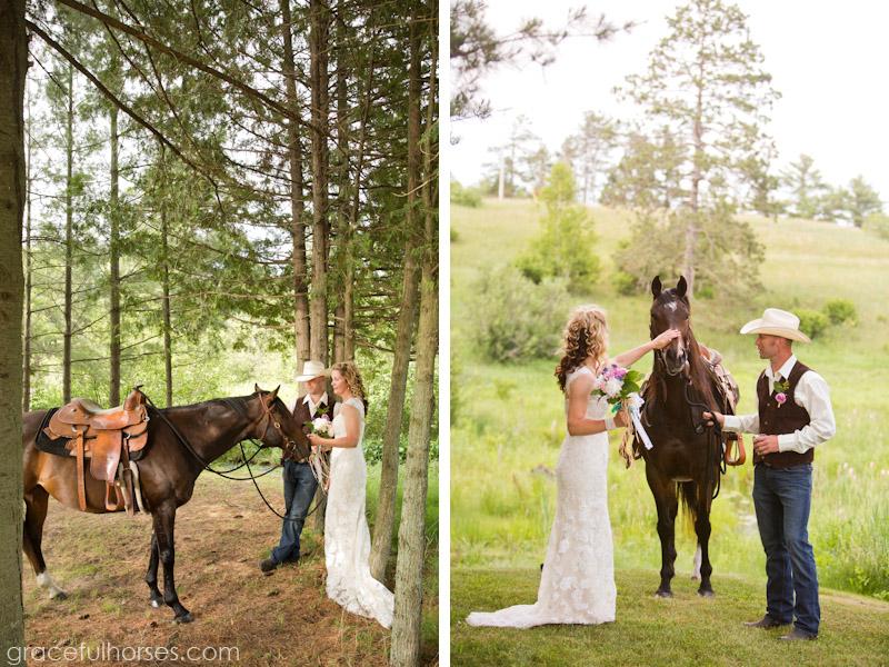 Wedding couple and horse photos