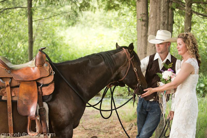 Wedding couple and horse