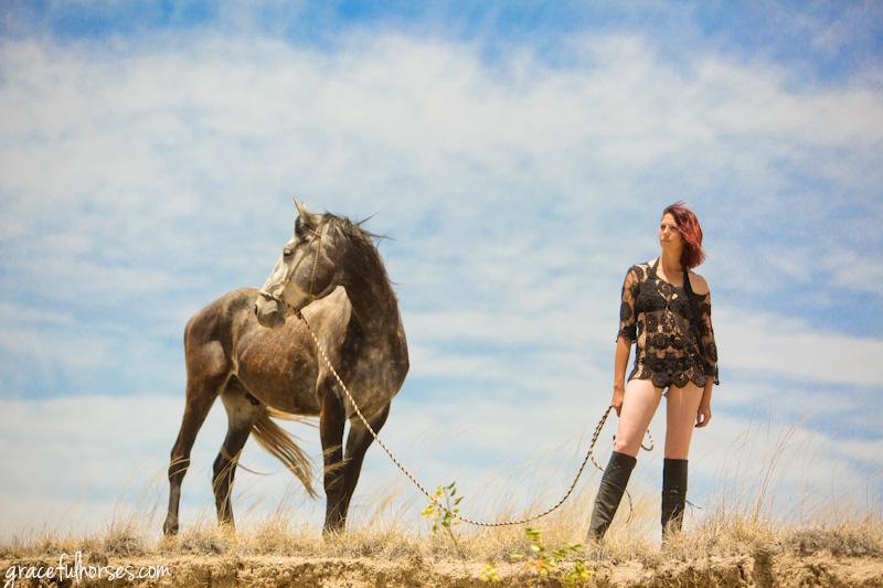 Budoir photography with horses