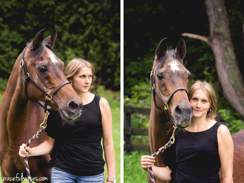 Arabian horse and owner portrait