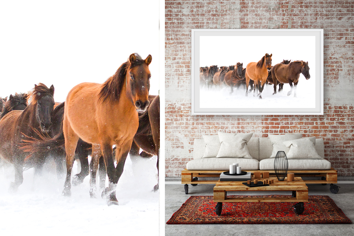 Horses in the snow wall art